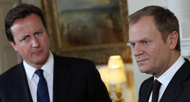 Премьер-министр Британии Дэвид Кэмерон и председатель Европейского совета Дональд Туск